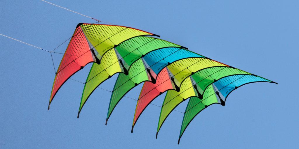 Neutrino stacked dual line stunt kites